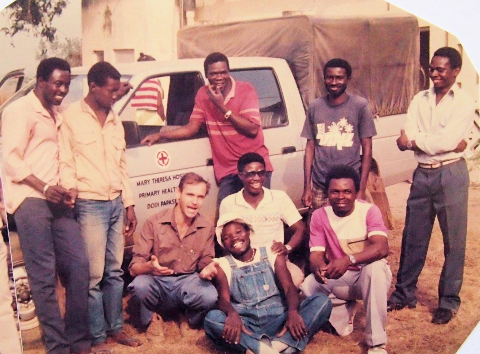 Good old days in Ghana: 1985. The HES team at the Mary Theresa Hospital in Dodi Papase where we just did install a major electrical supply network.