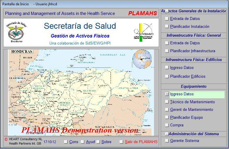 HON-TegucigalpaMoH20121017PLAMAHSStartupScreenSpanishSecretariaDeSalud