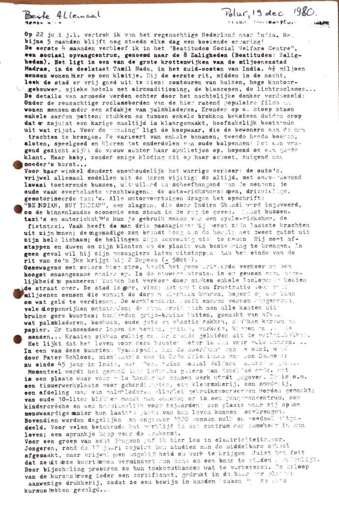 INDIA-Polur Mission 19801219 Rondzendbrief Vanuit Fr Schlooz Huis P1