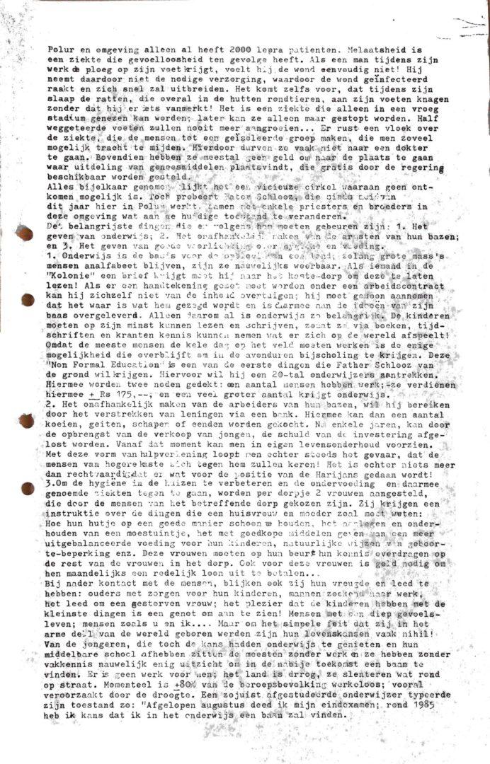 INDIA-Polur Mission 19801219 Rondzendbrief Vanuit Fr Schlooz Huis P3