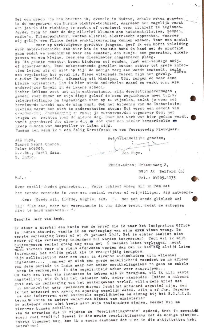 INDIA-Polur Mission 19801219 Rondzendbrief Vanuit Fr Schlooz Huis P4 Brief Dhr Van Beek BOAKR