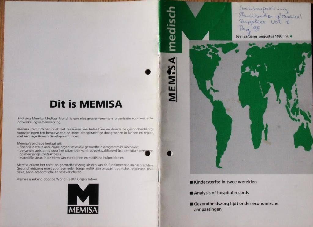 Artikel Memisa Medisch 1998-06 Omslag. Jan Huijs: Drastic Improvement of Hand-Operated Sterilizers