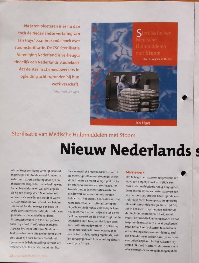 Artikel ZorgSelectief 2007-08 P12. Boekbespreking: Nieuw Nederlands Sterilisatieboek
