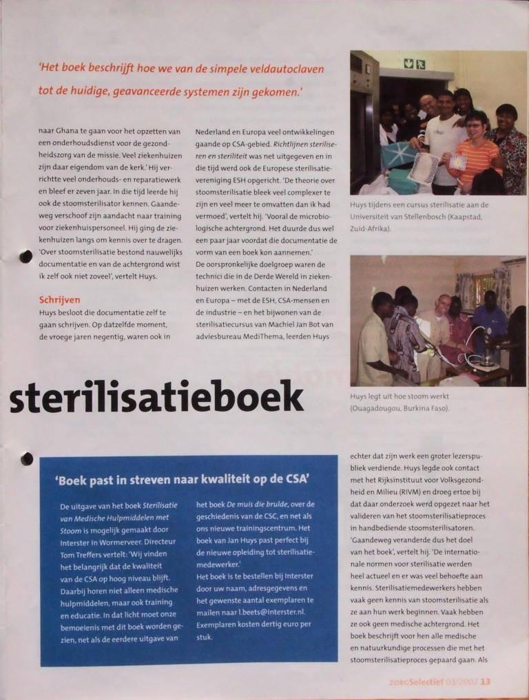 Artikel ZorgSelectief 2007-08 P13. Boekbespreking: Nieuw Nederlands Sterilisatieboek