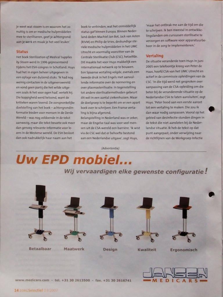 Artikel ZorgSelectief 2007-08 P14. Boekbespreking: Nieuw Nederlands Sterilisatieboek